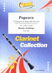 Armitage, Dennis: Popcorn for 3 clarinets and piano (keyboard) (rhythm group ad lib), score and parts