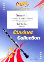 Barclay, Ted: Summit for 3 clarinets and piano (keyboard) (rhythm group ad lib), score and parts