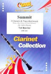 Barclay, Ted: Summit for 4 clarinets and piano (keyboard) (rhythm group ad lib), score and parts