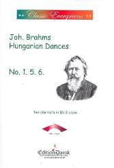 Brahms, Johannes: Hungarian Dances no.1, no.5, no.6 for 2 clarinets and piano