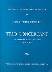 Distler, Johann-Georg: Trio concertant op.7,2 für Klarinette, Violine und Viola, Stimmen