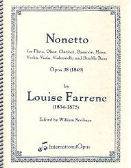 Farrenc, Louise: Nonett Es-Dur op.38 für Flöte, Oboe, Klarinette, Horn, Fagott, Violine, Viola, Violoncello und Kontrabass, Partitur und Stimmen