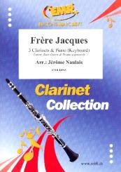 Frère Jacques for 3 clarinets and piano (keyboard) (rhythm group ad lib), score and parts