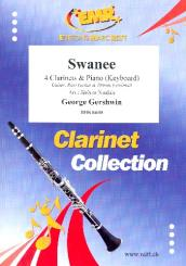 Gershwin, George: Swanee for 4 clarinets and piano (keyboard) (rhythm group ad lib), score and parts