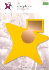 Gold saxophone ensemble pieces score, music medals