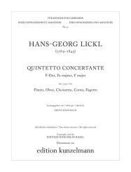 Lickl, Johann Georg: Quintetto concertante F-Dur für Flöte, Oboe, Klarinette, Horn, und Fagott,  Stimmen