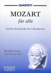 Mozart, Wolfgang Amadeus: Mozart für alle Leichte Spielstücke für 4 Klarinetten, Partitur und Stimmen