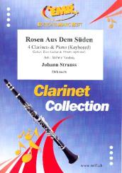 Rosen Aus Dem Süden for 4 clarinets and piano (keyboard) (rhythm group ad lib), score and parts