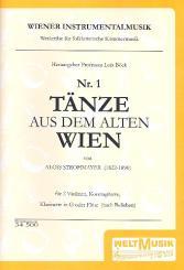 Strohmayer, Alois: Tänze aus dem alten Wien Band 1 für 2 Violinen, Kontragitarre (Kb), Klarinette in G (Flöte),  Partitur