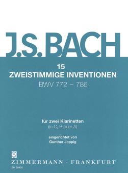 Bach, Johann Sebastian: 15 Zweistimmige Inventionen fuer 2 Klarinetten ( in C, B oder A ), Joppig, Gunther, ed